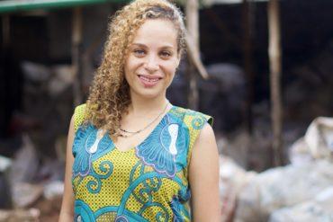 Naomi Fagla Medegan, winner of the Terre de Femmes France 2021 Award, collecting plastic waste in Benin